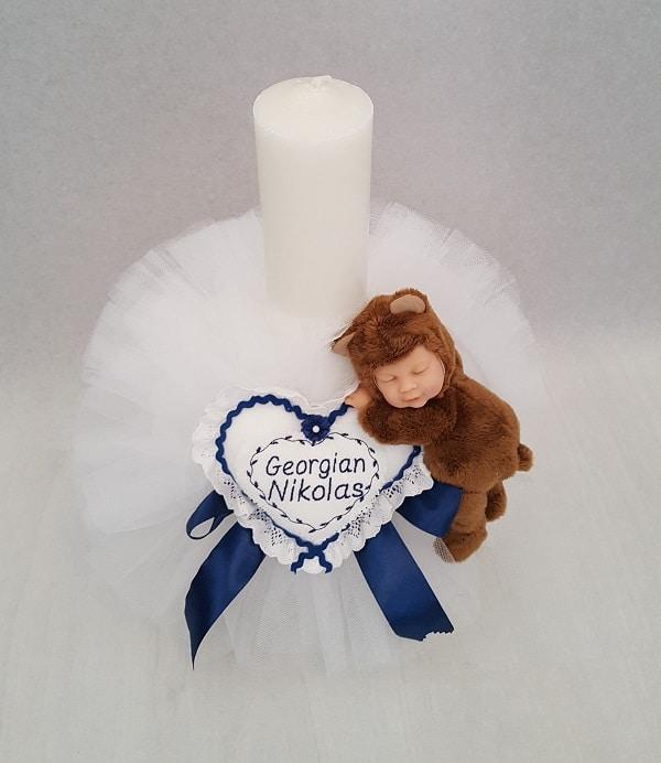 Lumanare Botez Pentru Baietei Cu Bebelus Ursulet Casa Cu Broderii