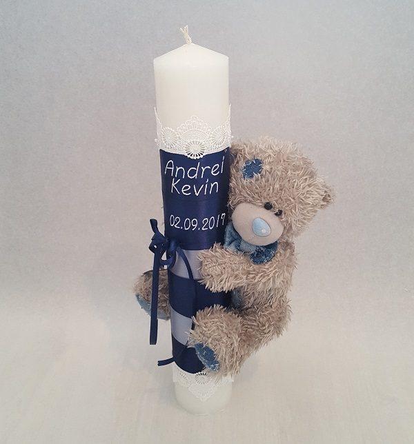 Lumanare Botez Pentru Baietei Cu Ursulet Si Cu Data Nasterii Casa