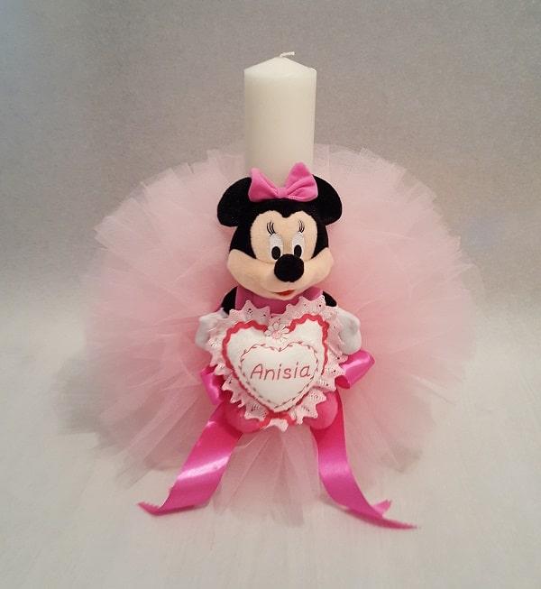 Lumanare Botez Pentru Fetite Roz Cu Minnie Casa Cu Broderii