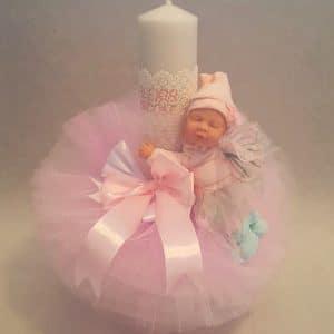 Lumanare botez personalizata cu numele si un bebelus