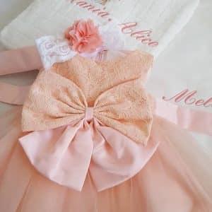Rochita fete pentru botez roz cu dantela si tulle