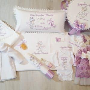 Trusou lila de botez cu ingerasi si rochita pentru fetite